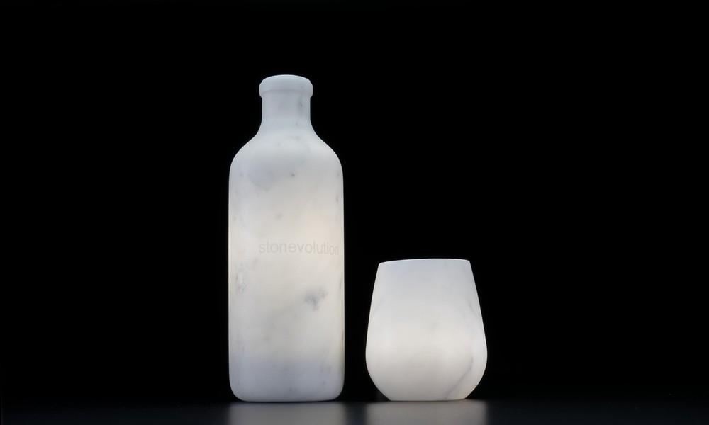 Stonevolution - Bottiglia e Bicchiere in marmo